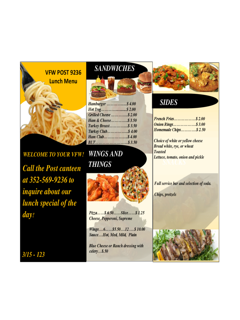 2019 Restaurant Menu Template Fillable Printable Pdf Forms