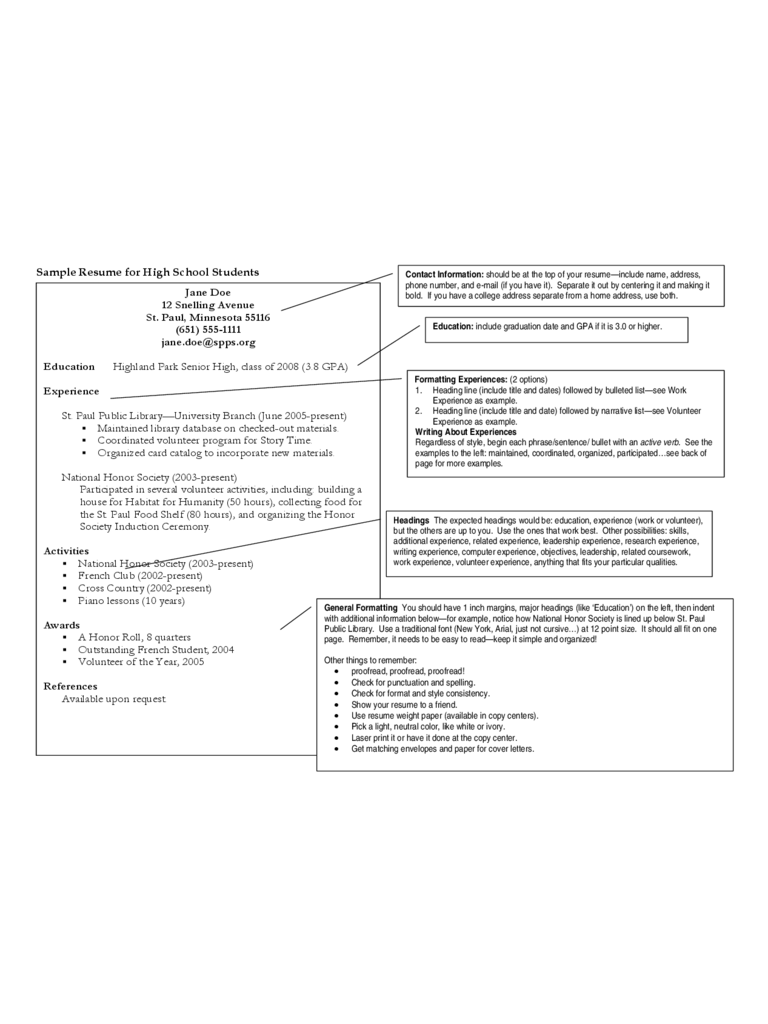 High School Student Resume Template  Fillable Printable Pdf