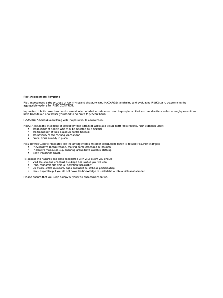 Risk Assessment Checklist Sample