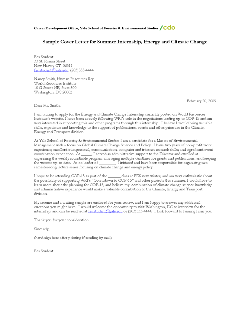 Sample cover letter for summer internship energy and climate sample cover letter for summer internship energy and climate change madrichimfo Images