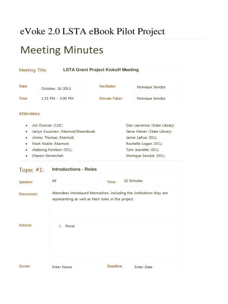 Sample Project Meeting Minutes Template Colorado Edit Fill Sign Online Handypdf