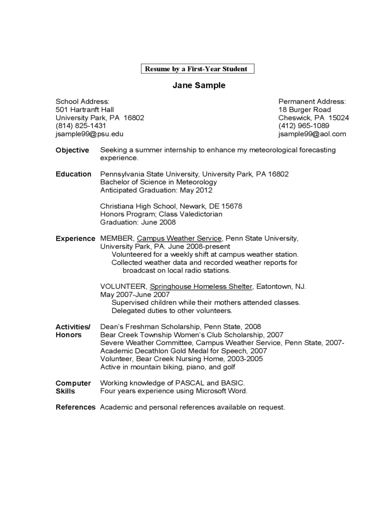 Sample Resume By A First Year Student Edit Fill Sign Online Handypdf