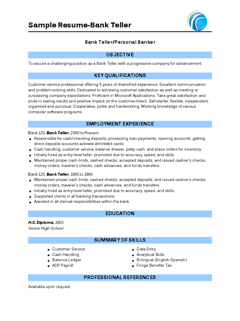 Cashier Resume Template  Fillable Printable Pdf  Forms