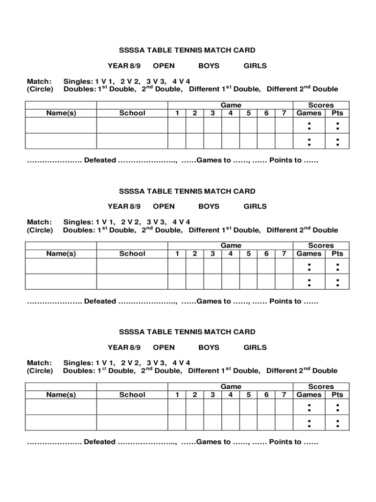2018 Table Tennis Score Sheet Fillable Printable Pdf