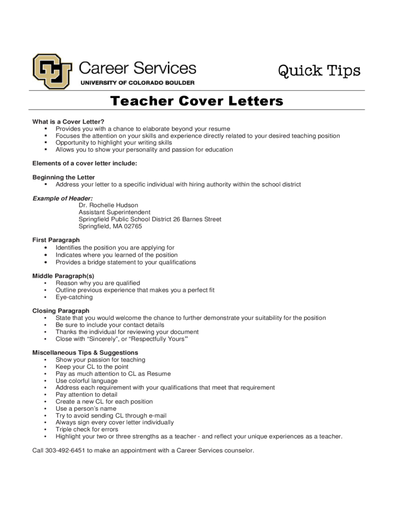 Teacher Cover Letter   Colorado  Teaching Cover Letter Template