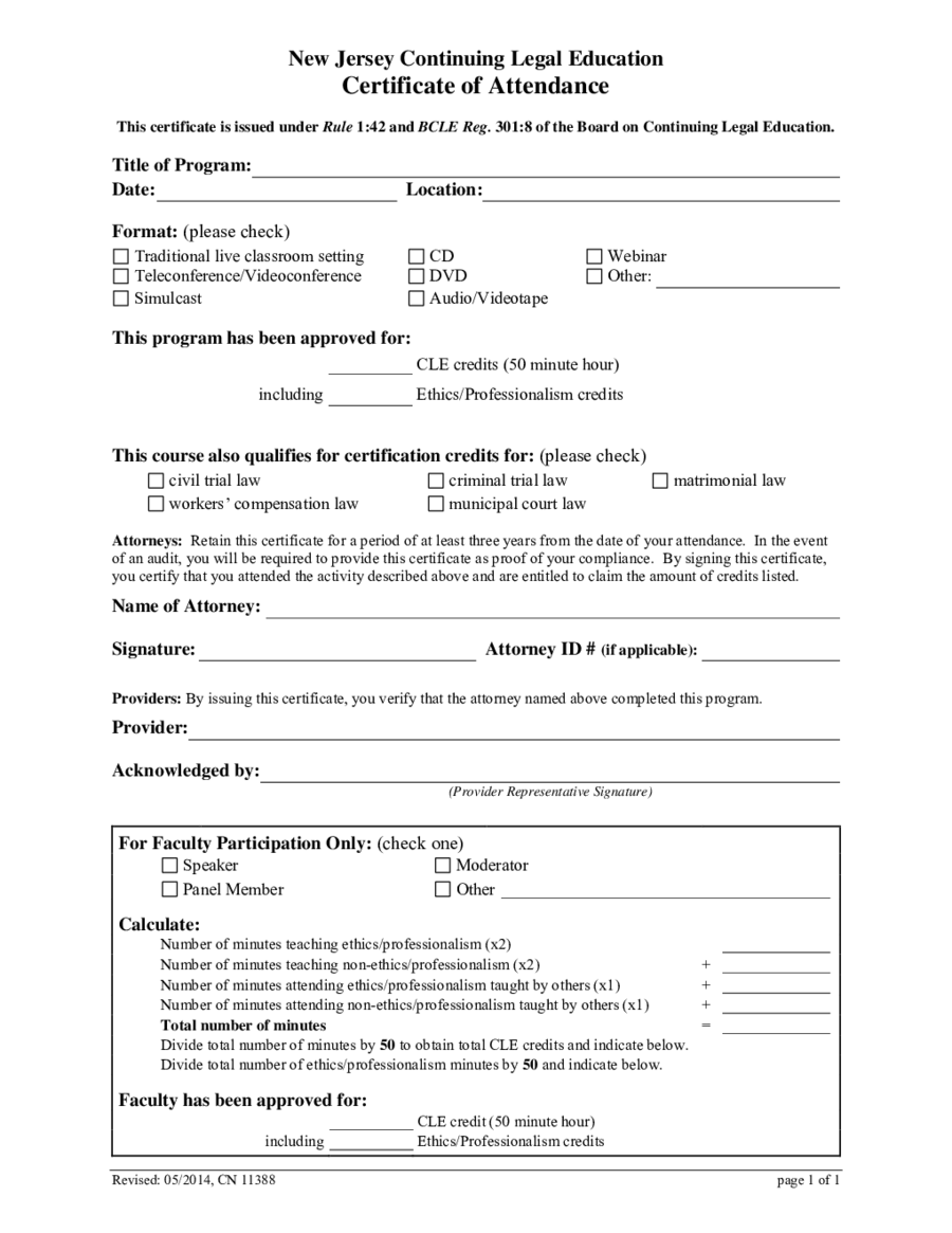 2018 certificate of attendance fillable printable pdf forms cle certificate of attendance 1betcityfo Images