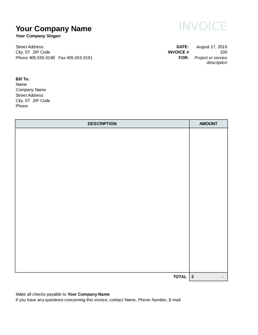 Invoice Template Fillable Printable PDF Forms Handypdf - Construction invoice form free for service business