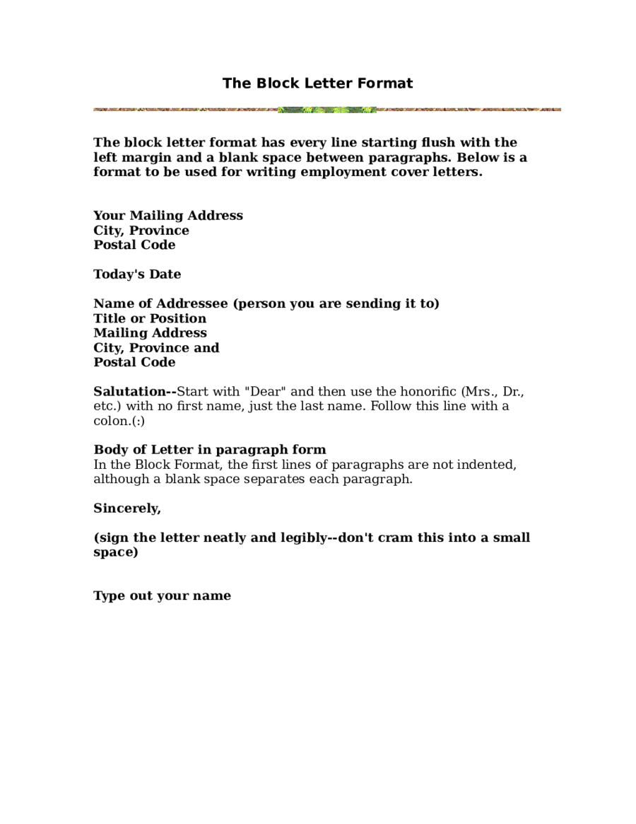 Block Letter Format  Fillable Printable Pdf  Forms  Handypdf