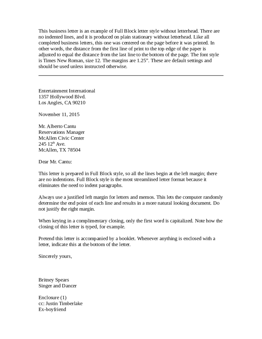 business letter semi block format