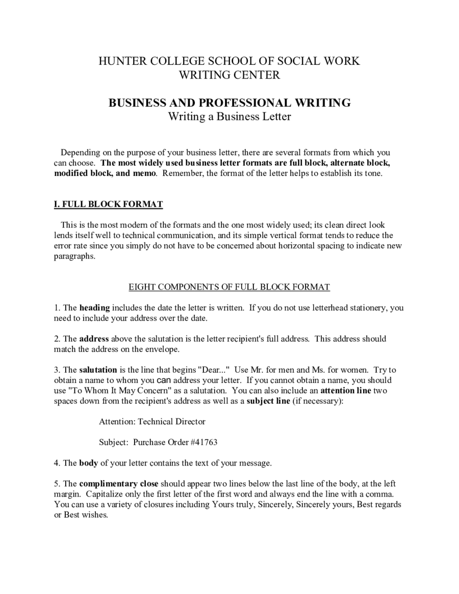 Business Letter Template  Fillable Printable Pdf  Forms