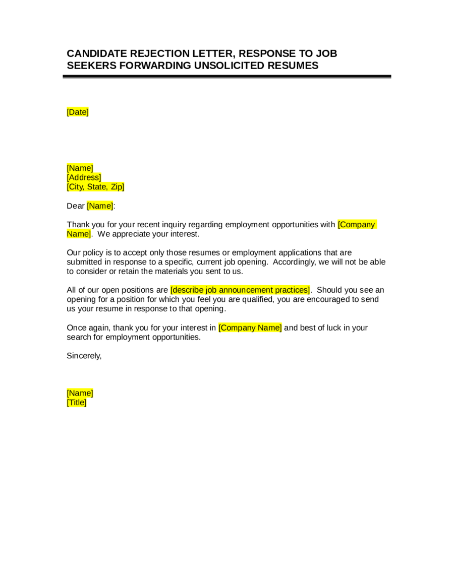 2018 job rejection letter fillable printable pdf forms handypdf