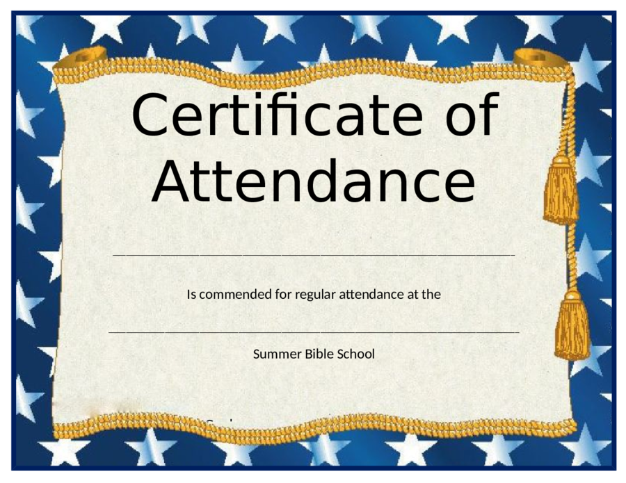 Perfect Attendance Certificate Template 2018 Certificate Of Attendance Fillable Printable PDF Forms Handypdf