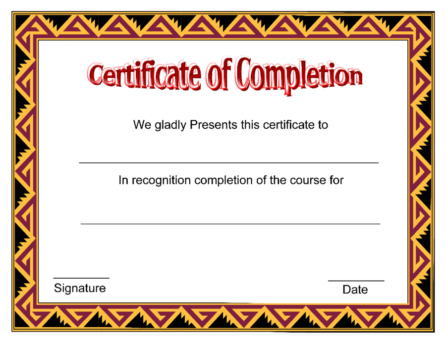 It is a picture of Gutsy Printable Certificate of Completion
