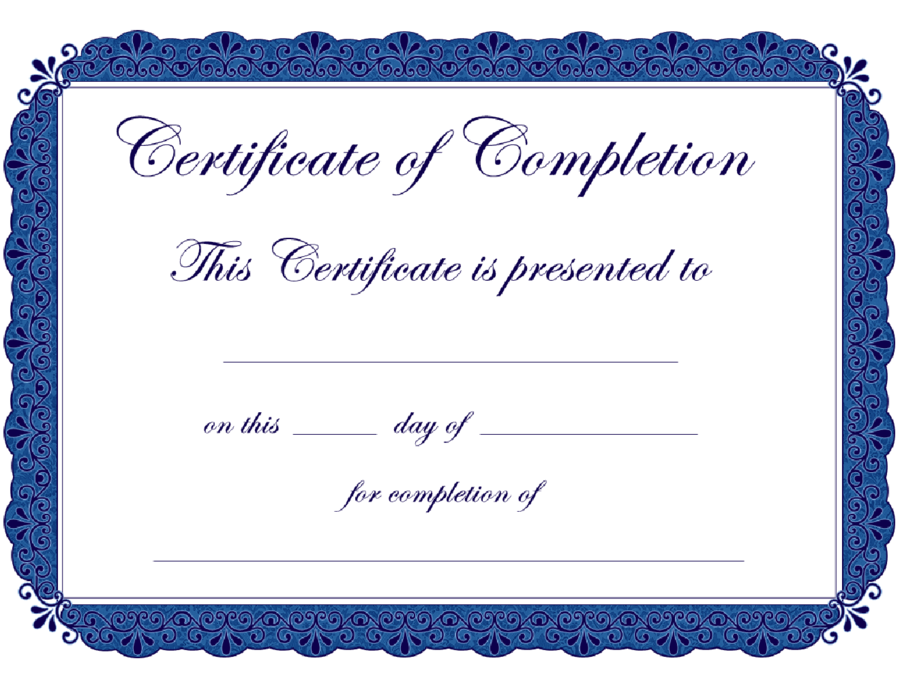 It is a picture of Hilaire Printable Certificate of Completion