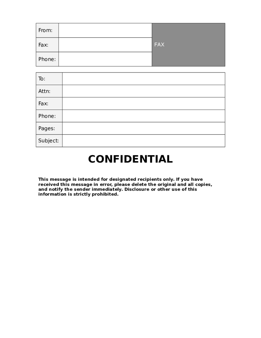 Printable Confidential Fax Template  Fax Cover Template Word