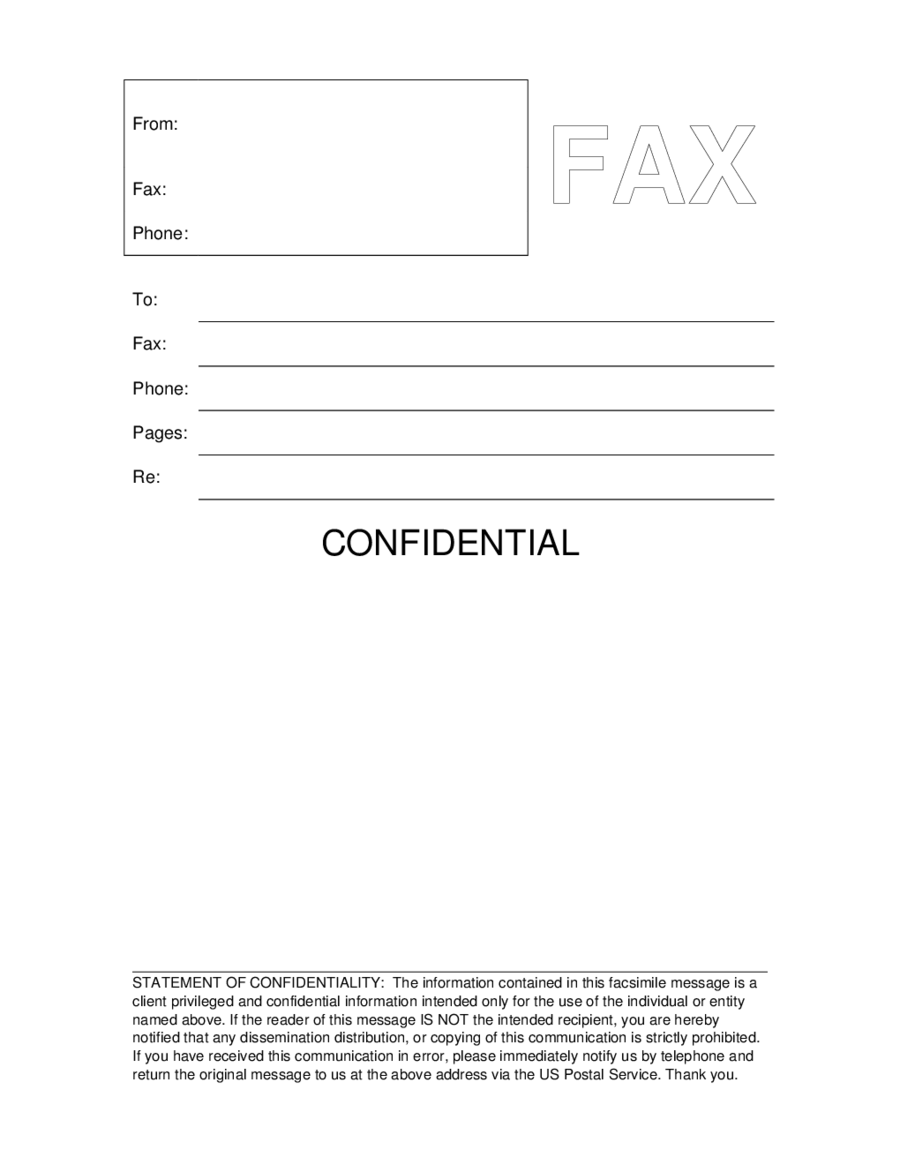 Confidential Fax Printable Cover Sheet