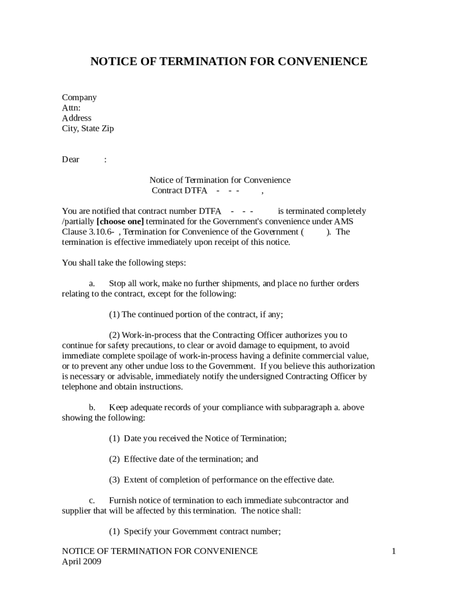 Service Contract Termination Letter Template  How To Write A Termination Letter To An Employer