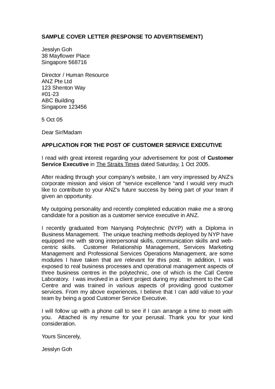 Cover Letter Customer Service (RESPONSE TO ADVERTISEMENT)  Sample Cover Letter For Customer Service Job