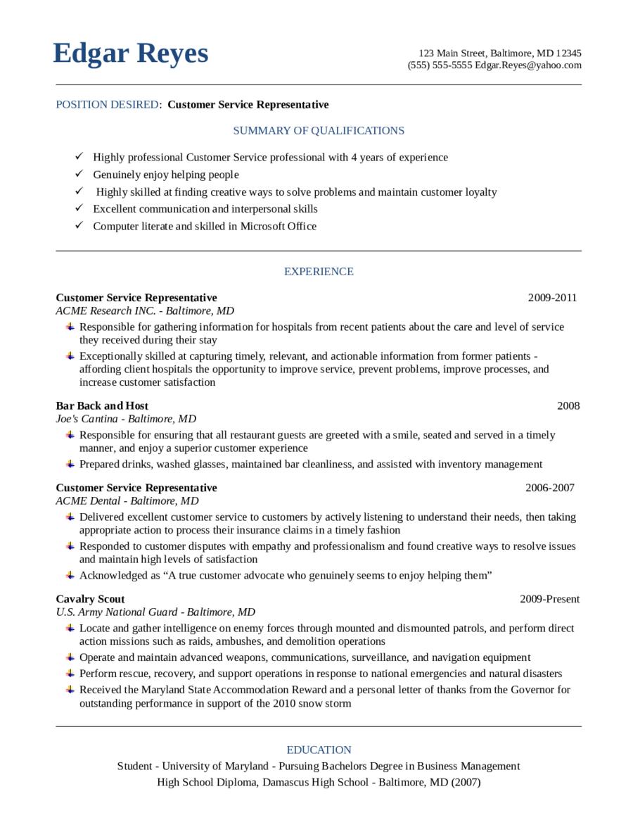 Resume In Customer Service