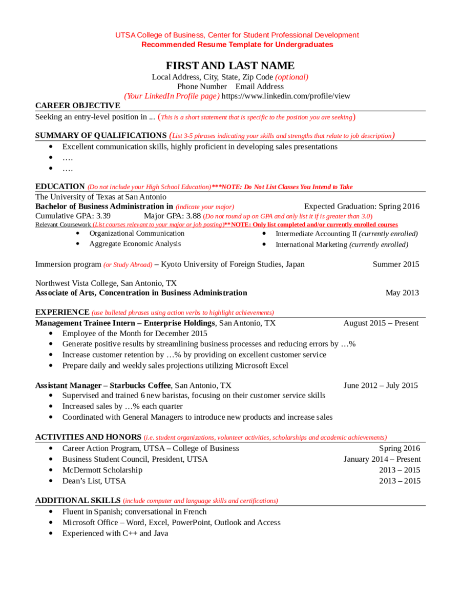 Resume Template  Fillable Printable Pdf  Forms  Handypdf