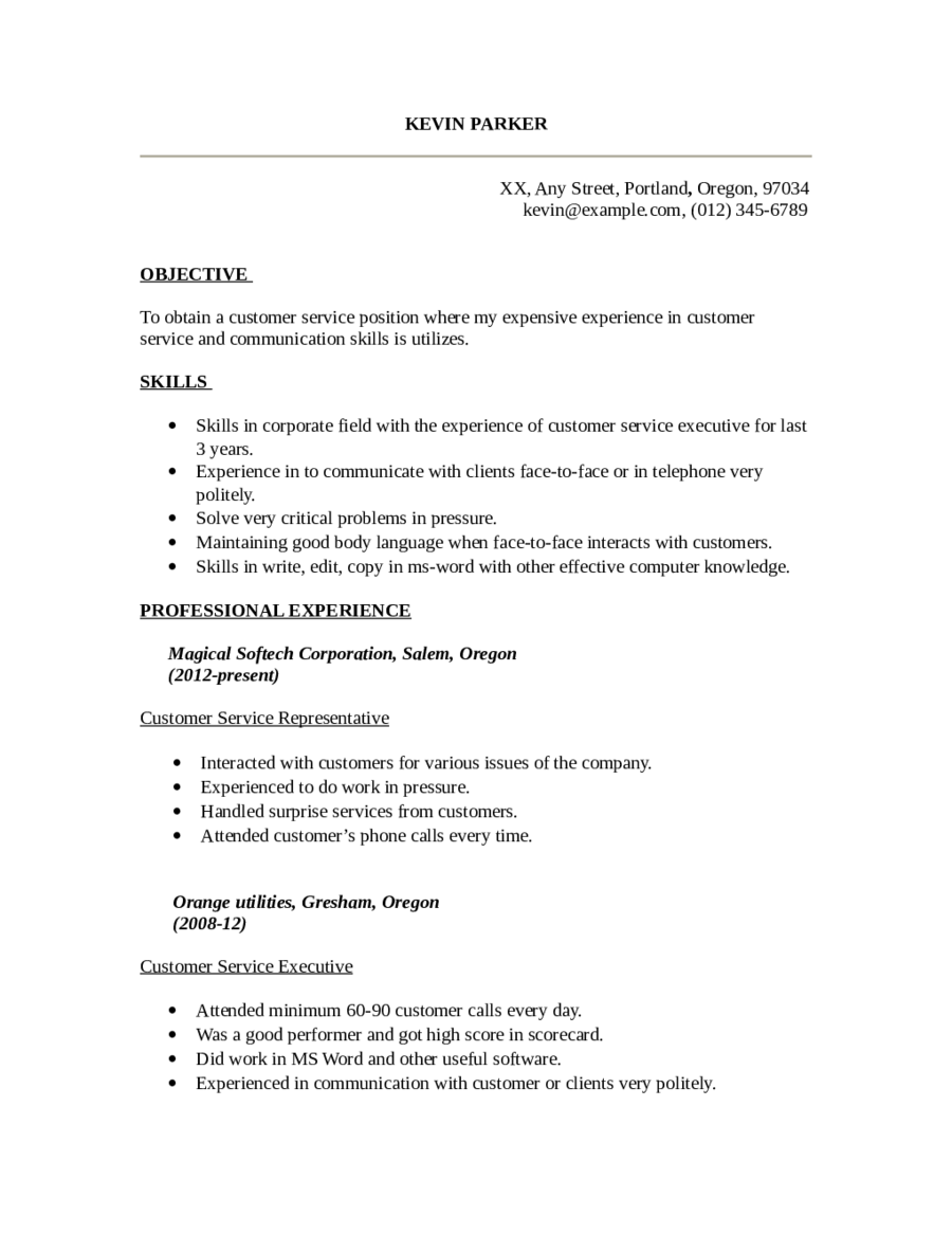 Customer Service Resume  Fillable Printable Pdf  Forms