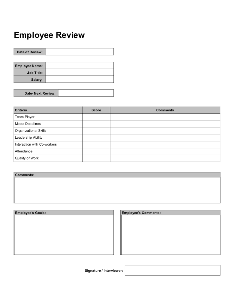 2018 employee evaluation form fillable printable pdf for Hr performance review template