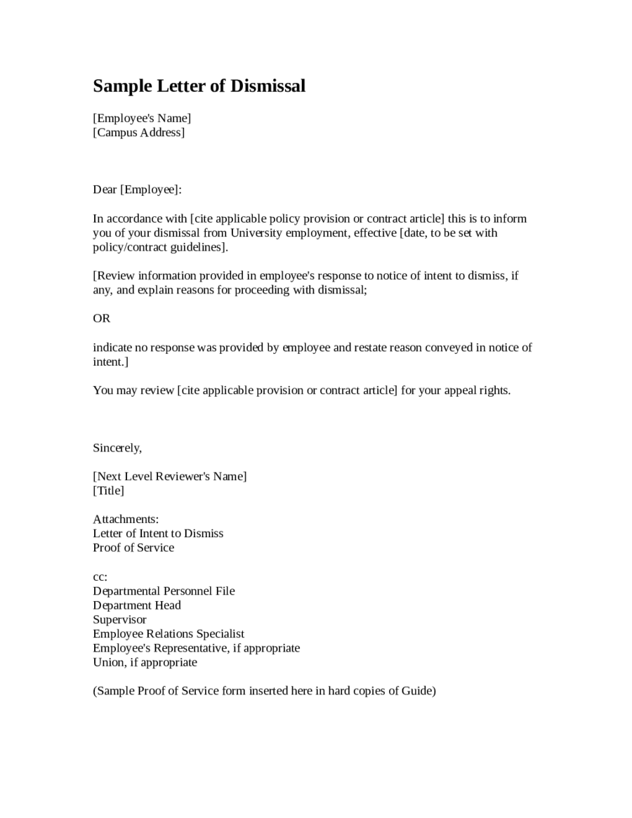 Sample Letter of Dismissal Template - Edit, Fill, Sign Online | Handypdf