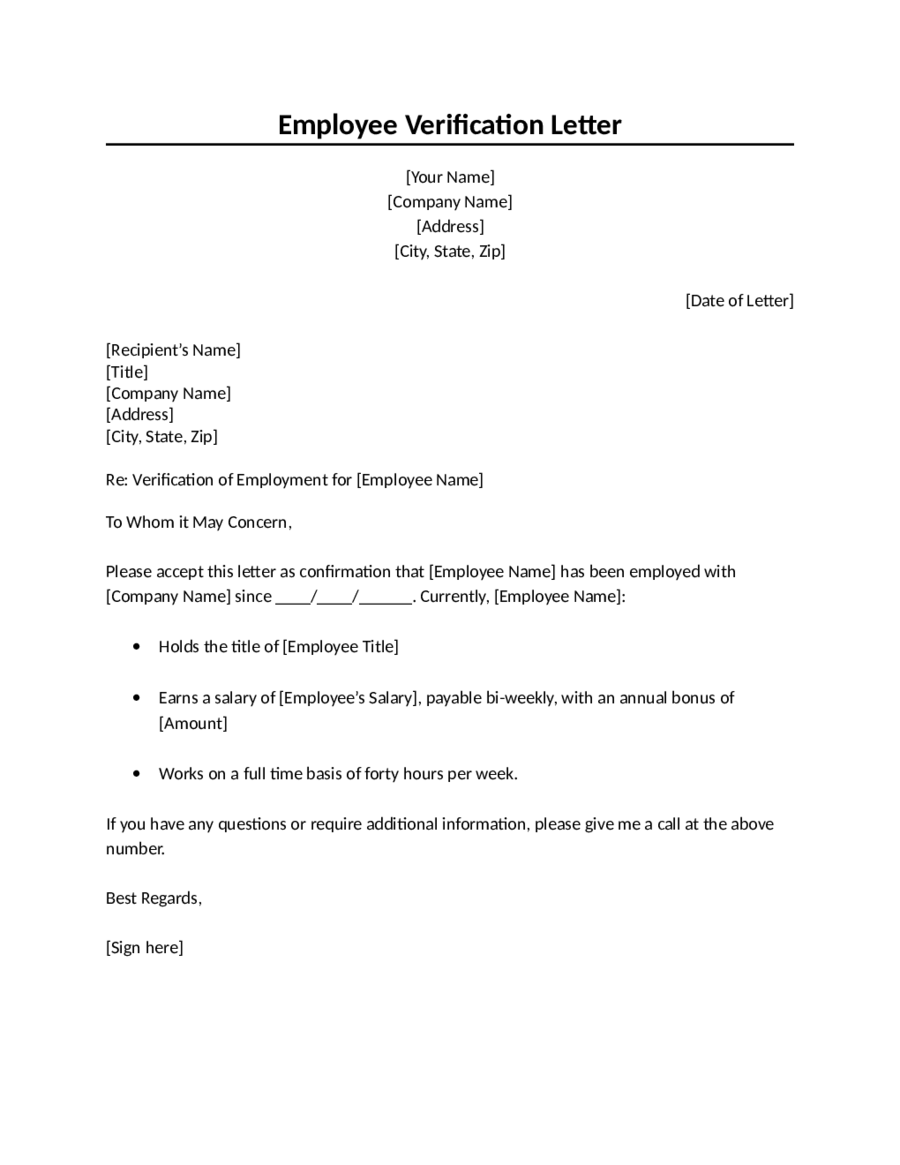 Proof Of Employment Letter  Fillable Printable Pdf  Forms