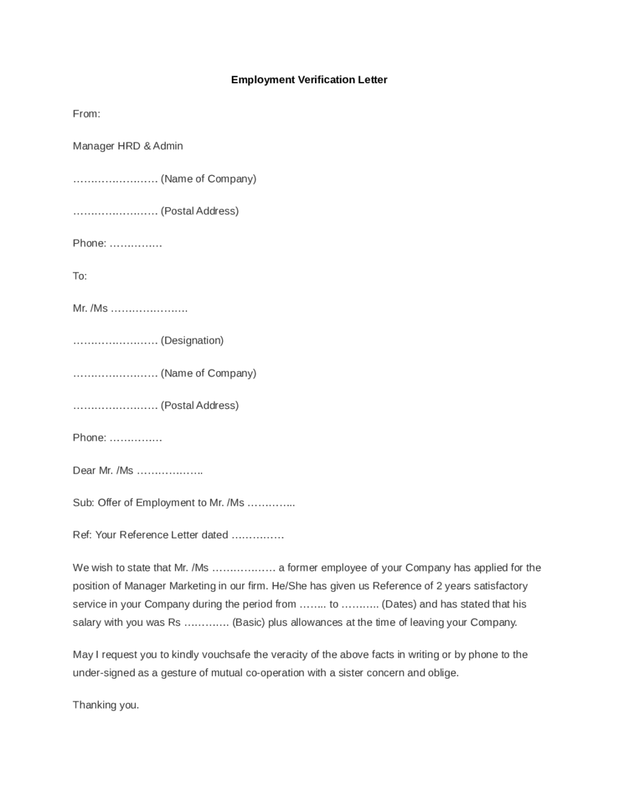 Template For Proof Of Employment Letter