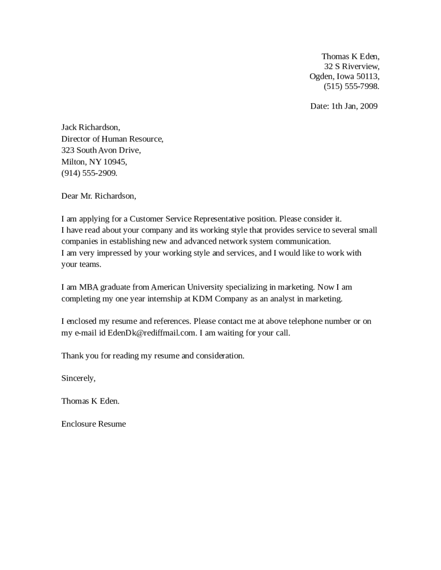 entry level customer service cover letter 01 - Samples Of Customer Service Cover Letters