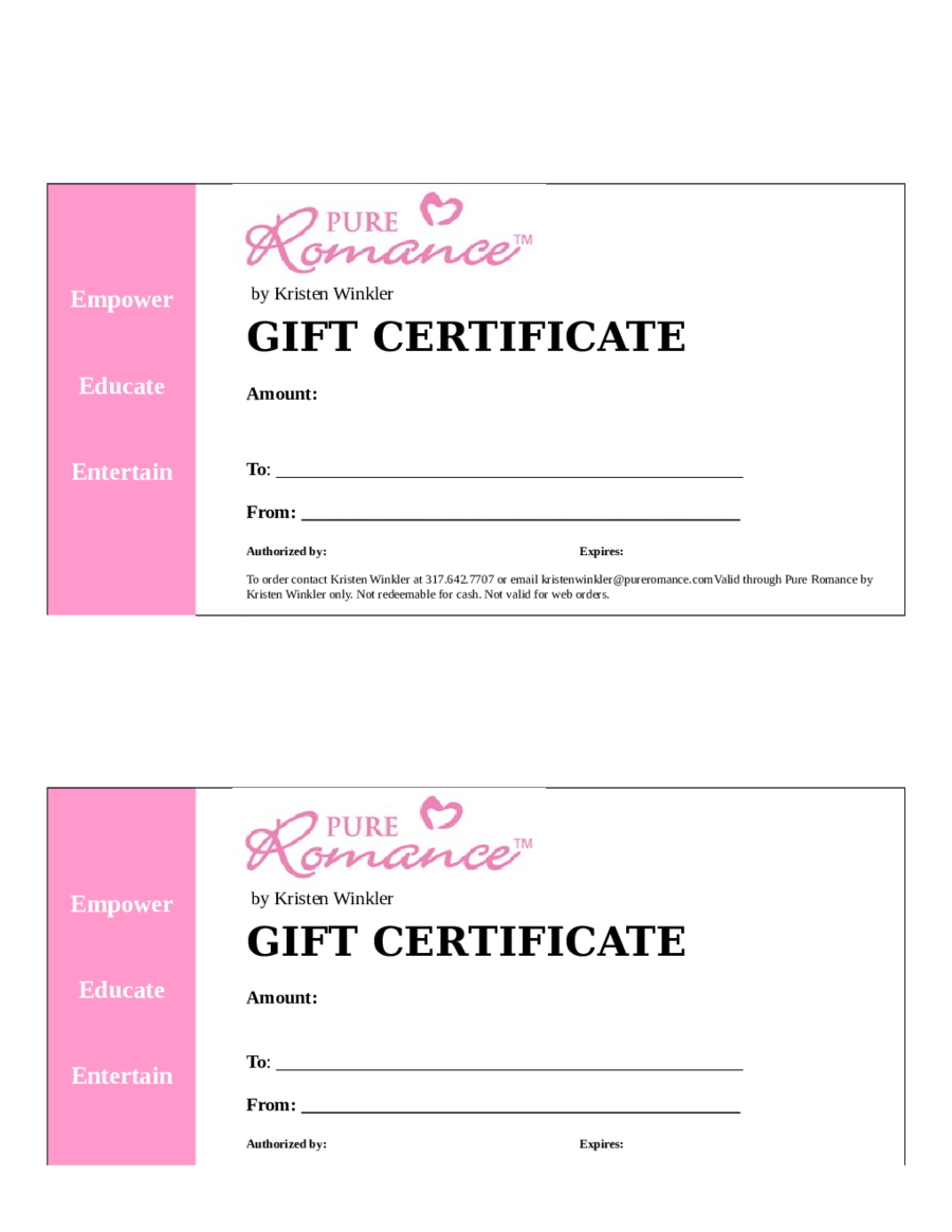 2018 gift certificate form fillable printable pdf forms handypdf. Black Bedroom Furniture Sets. Home Design Ideas