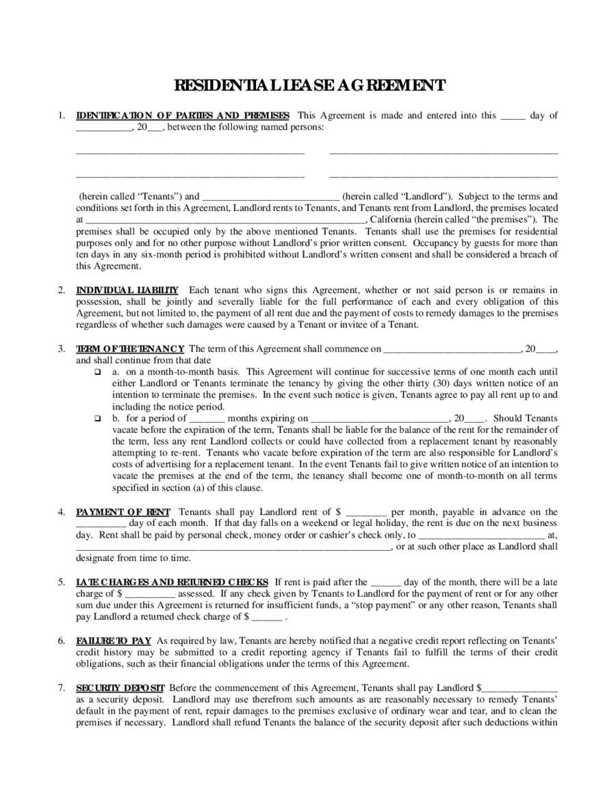 2019 Rental Agreement Fillable Printable Pdf Forms