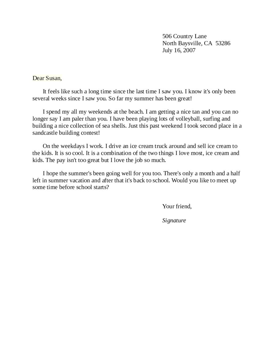 Letter Format To A Friend from handypdf.com