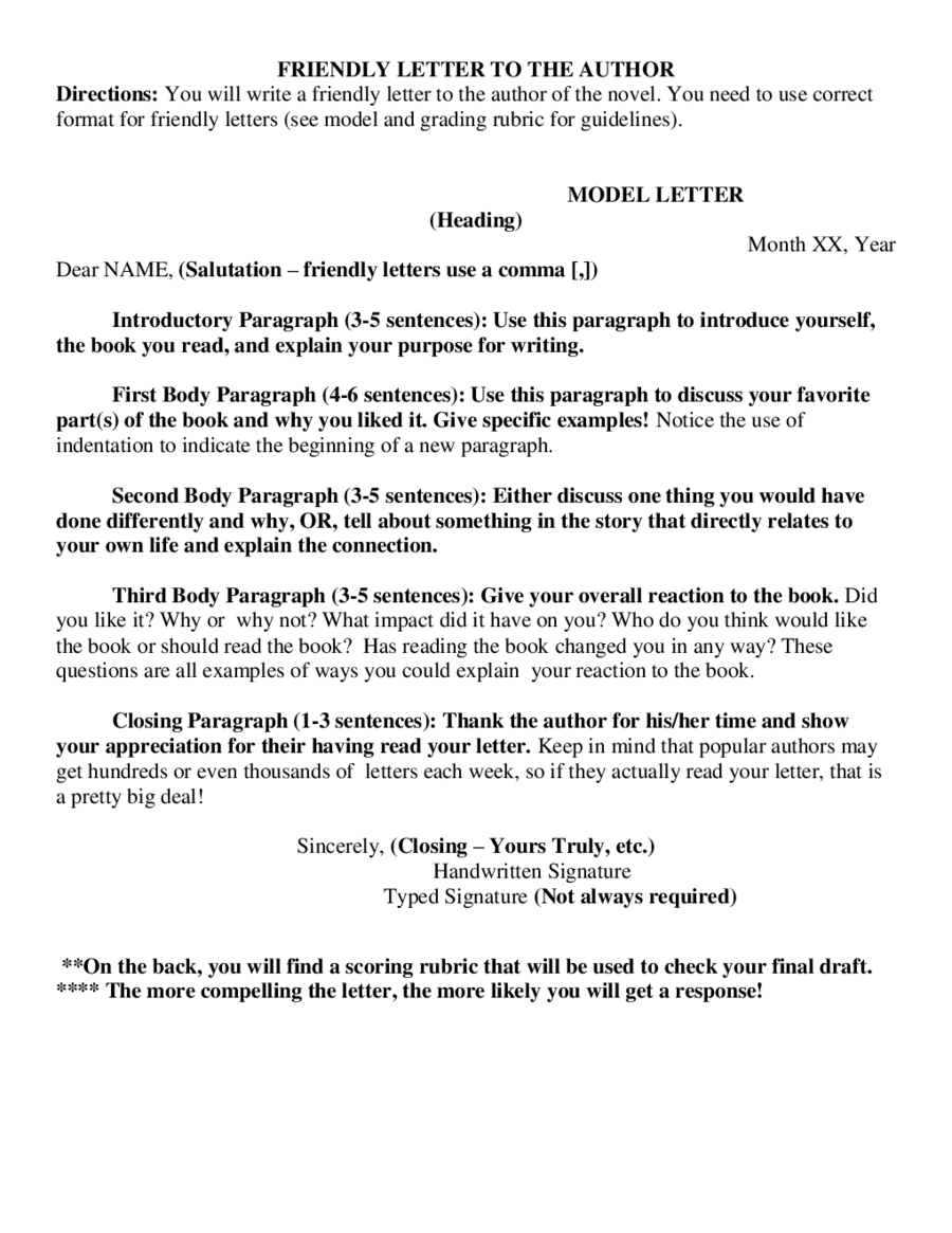 Friendly Letter Format  Fillable Printable Pdf  Forms  Handypdf