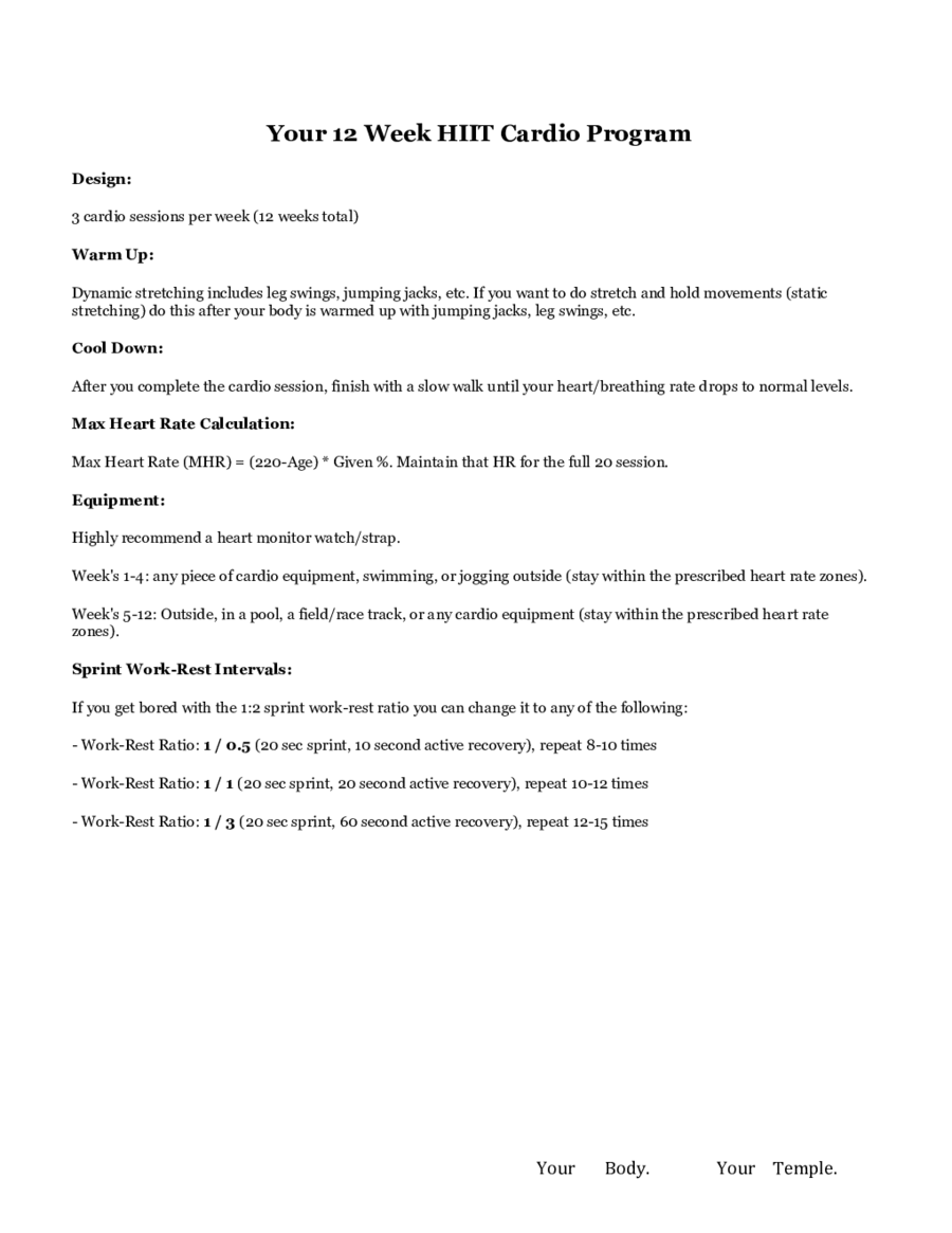 HIIT Workout Plan Template