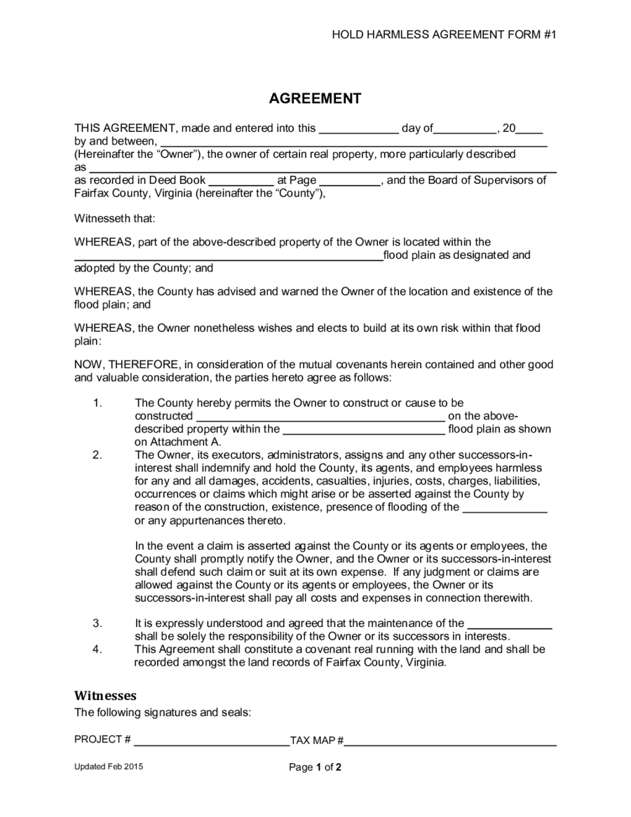 Hold Harmless Agreement  Fillable Printable Pdf  Forms