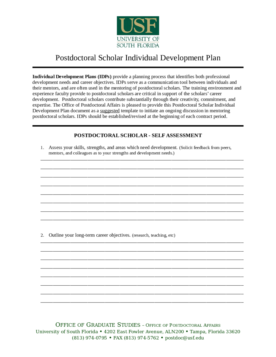 resource development plan template - postdoctoral scholar individual development plan edit