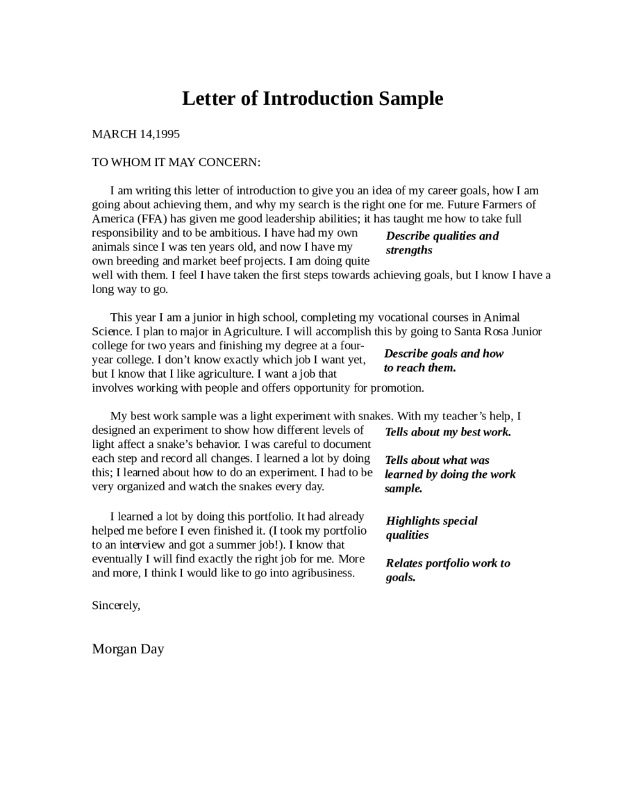 Introduction Letter Templates  Fillable Printable Pdf  Forms
