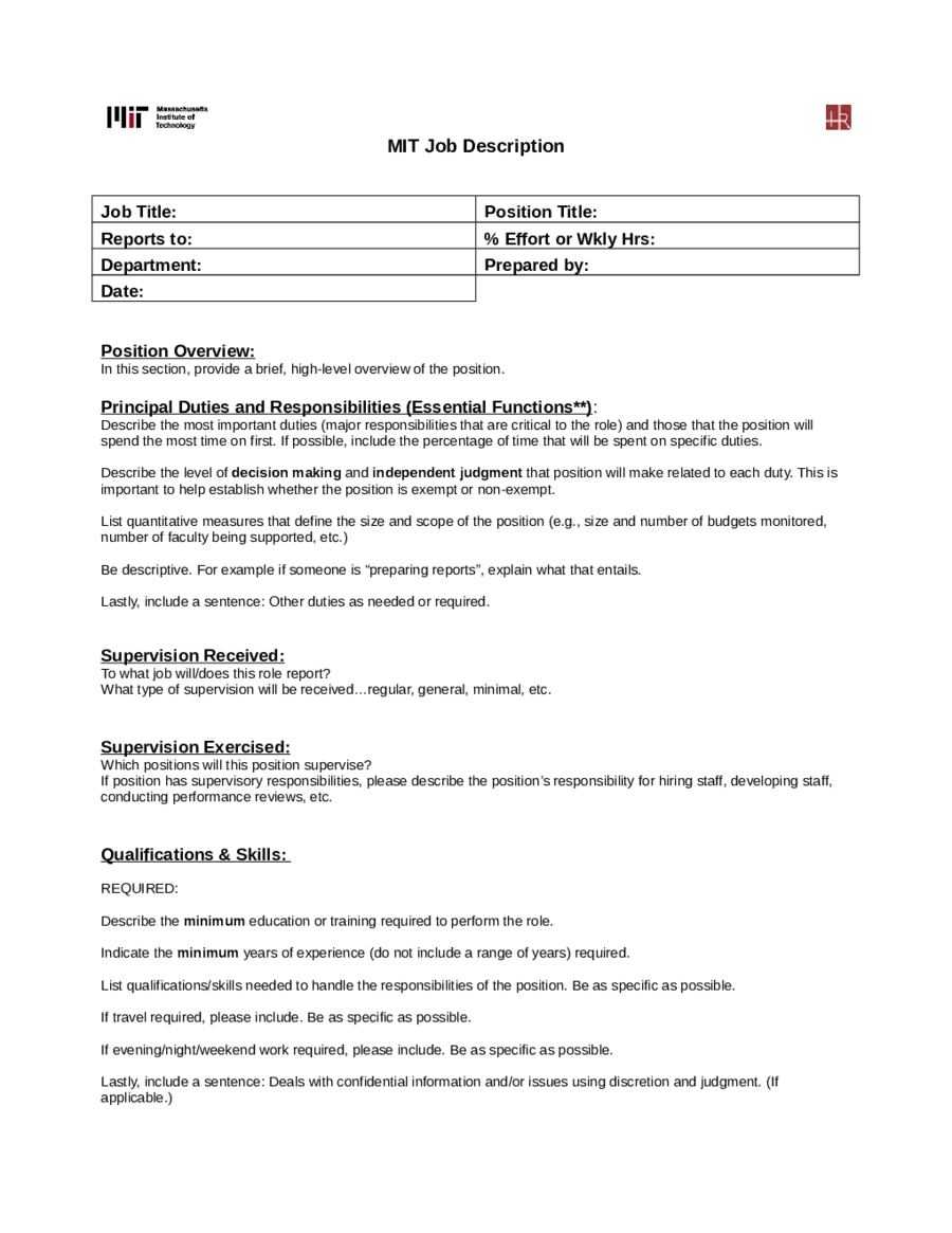 Job description templates edit fill sign online handypdf for How to create job description template