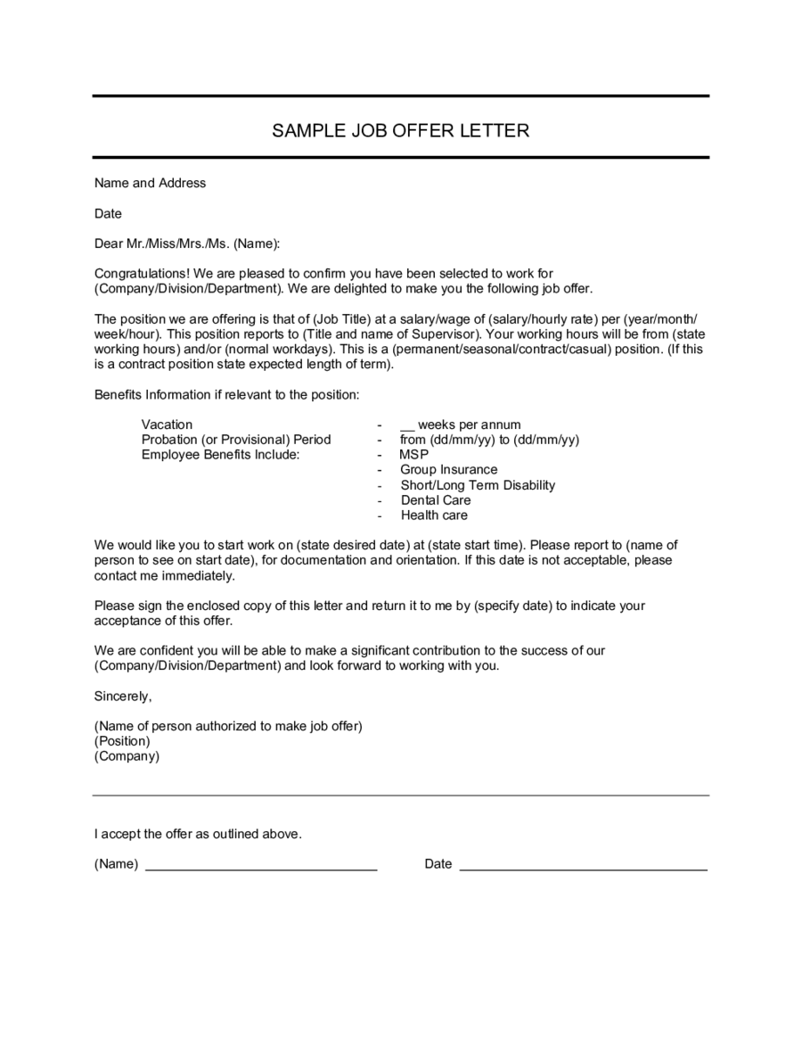 letter of employment offer