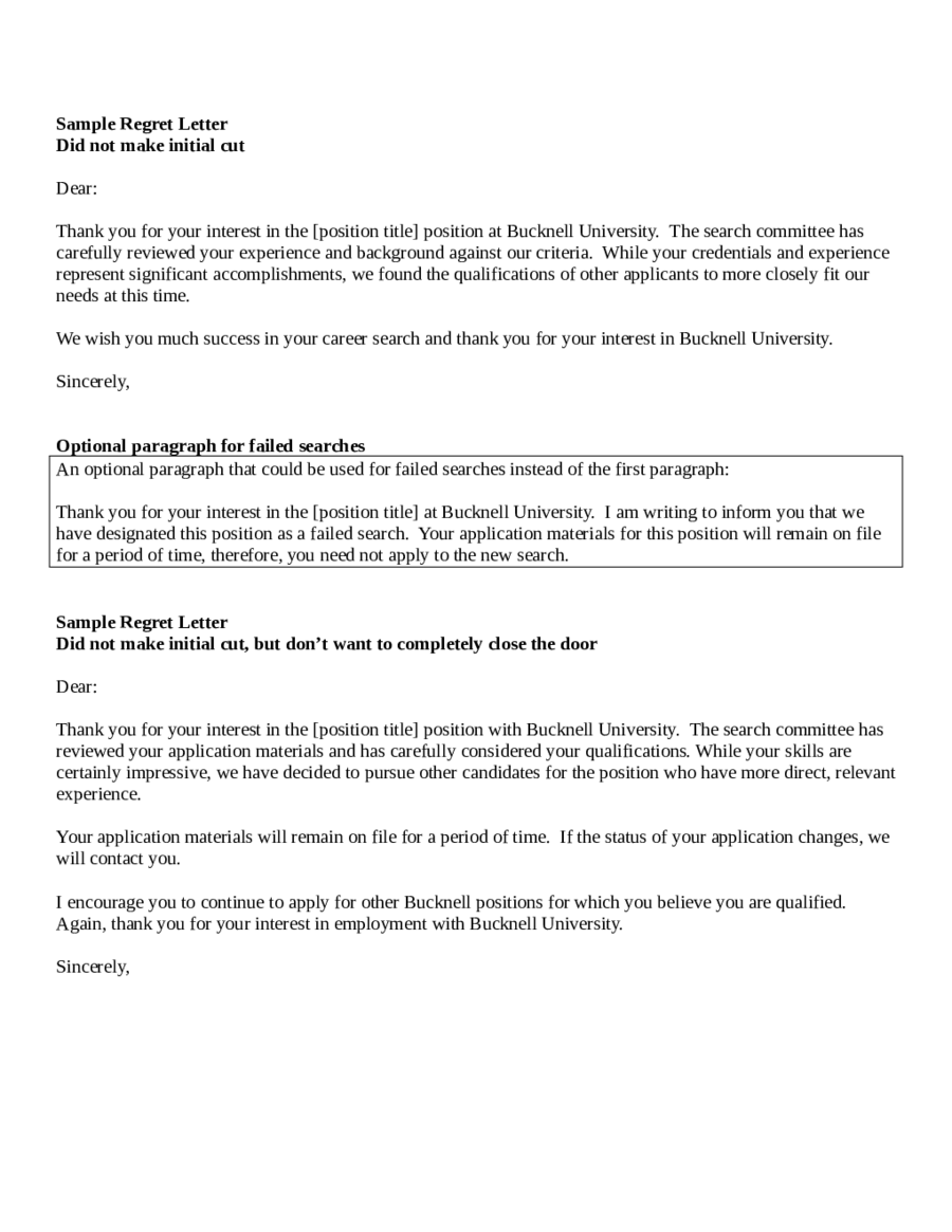 job application rejection letter after interview college paper