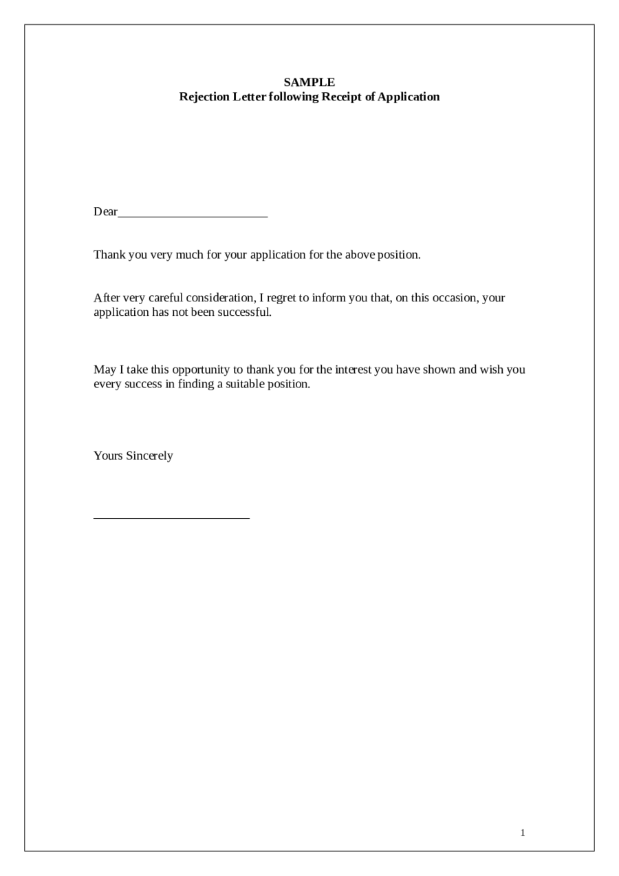 Job Rejection Letter  Fillable Printable Pdf  Forms  Handypdf