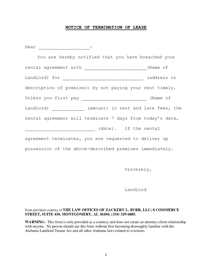 2018 lease termination form fillable printable pdf for Landlord end of tenancy letter template