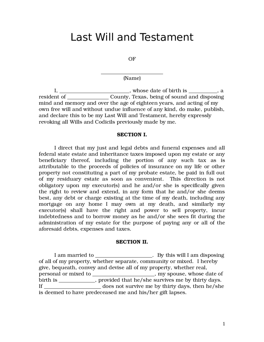 Last will and testament edit fill sign online handypdf for Template for wills