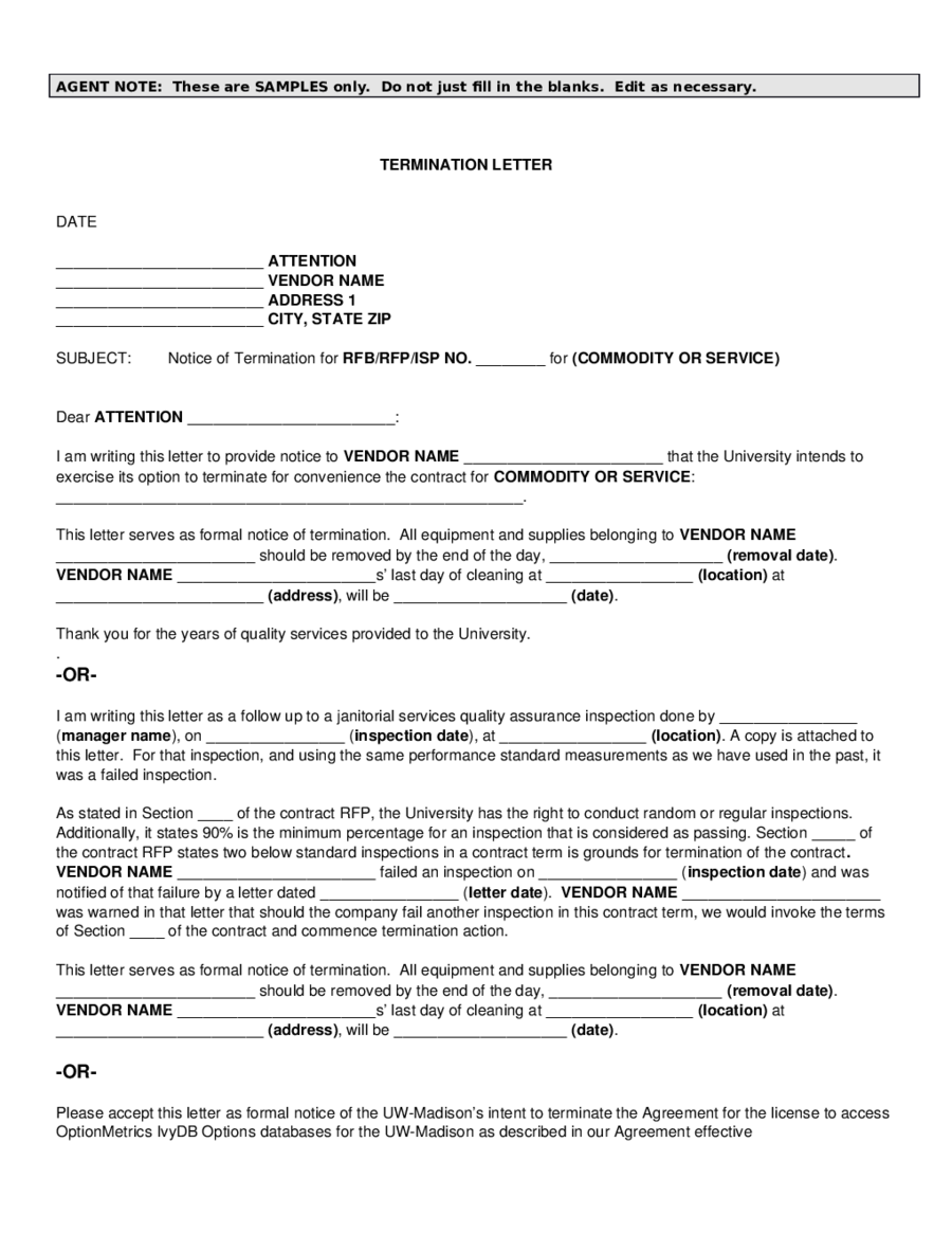 Lease Termination Agreement Form (PRE Breach Letter)