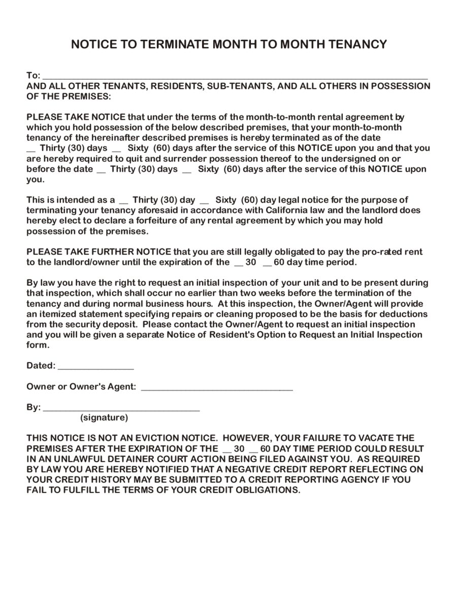 Early Lease Tenancy Termination Agreement Form