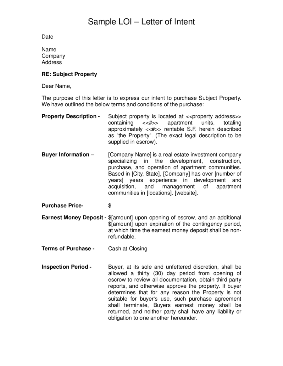2018 letter of intent template fillable printable pdf for Letter of intent to purchase property template