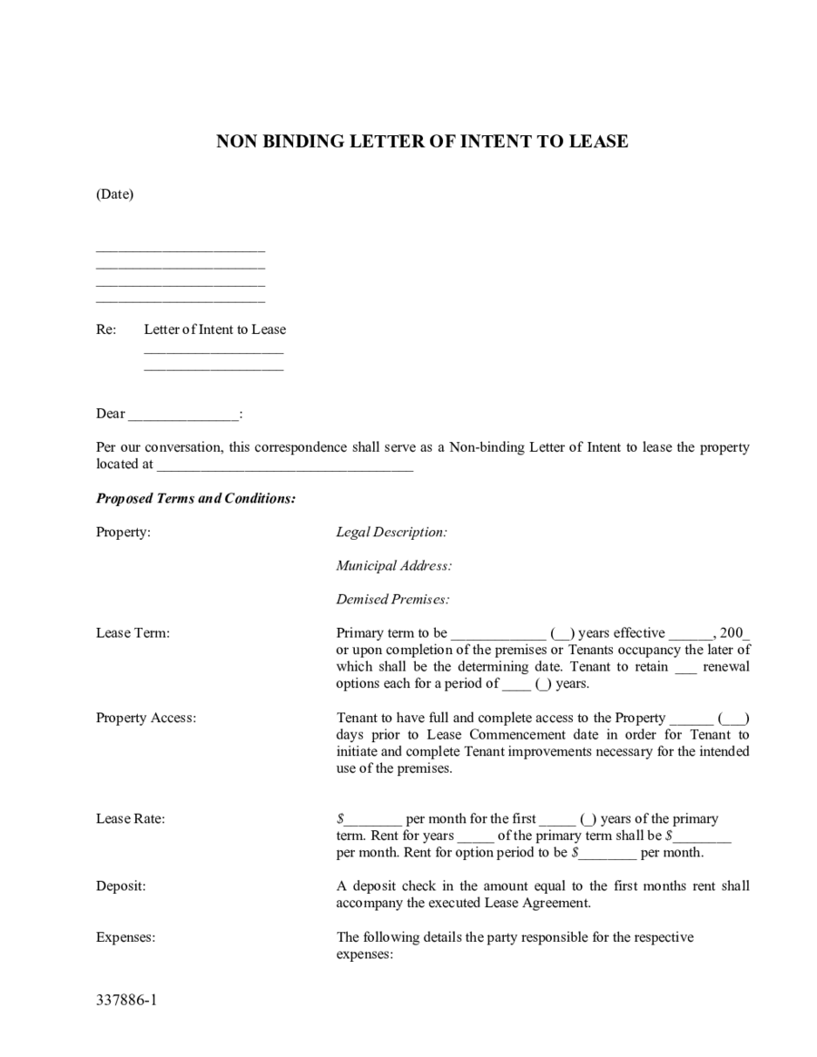 Non Binding Letter Of Intent To Lease  Edit Fill Sign Online