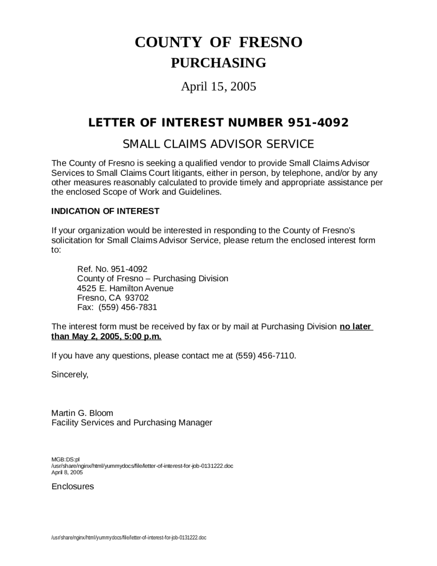 Letter Of Interest  Fillable Printable Pdf  Forms  Handypdf
