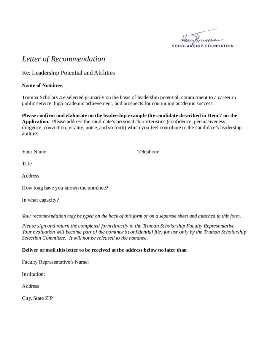 2019 Letter Of Recommendation Sample Fillable Printable